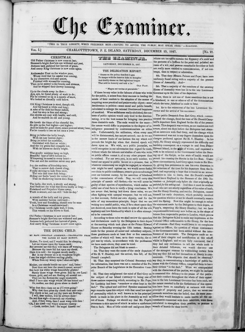 Examiner - Front Page - December 25, 1847