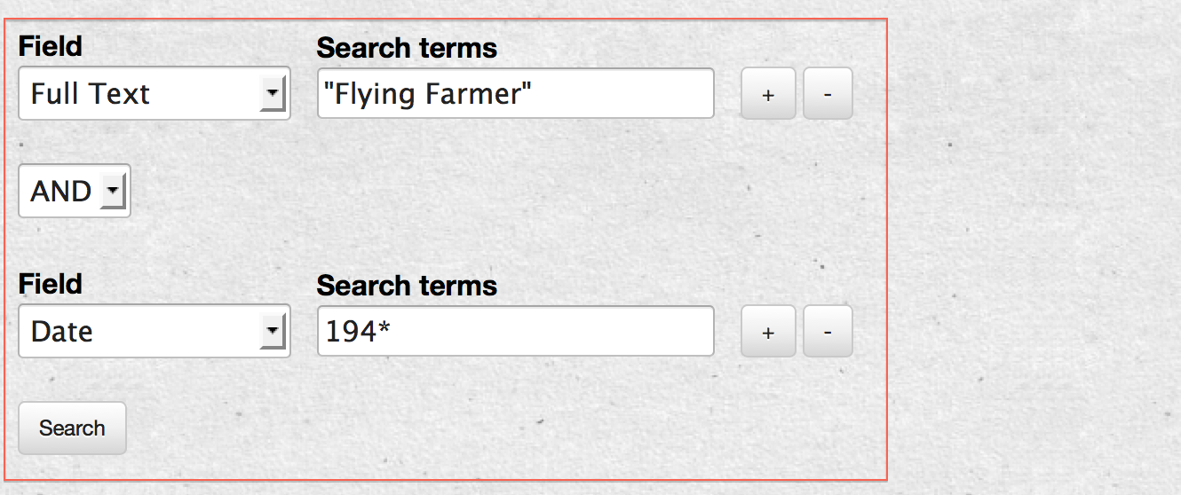 Sample search with phrase and date.