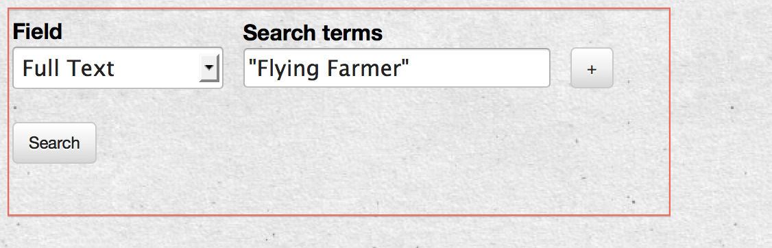 "An example phrase search for ""Flying Farmer""."